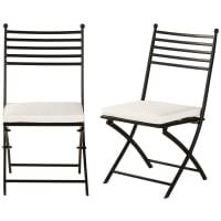 MARIGNANE - Chaises de jardin pliantes en acier noir et coussins blanc cassé (x2)