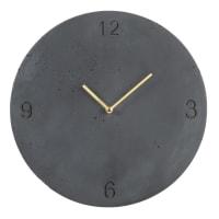 TRAVIS - Charcoal grey engraved cement clock D30cm
