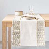 COURRY - Chemin de table en coton bio vert et écru 48x150