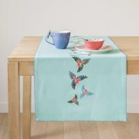 Chemin de table en coton bleu turquoise imprimé perroquets 48x150