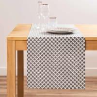 MAJESTIC  - Chemin de table en coton gris à motifs L150