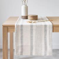 OSTEROY - Chemin de table en coton tissé écru et gris anthracite 45x150