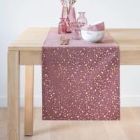 Chemin de table rose motifs dorés 150x40