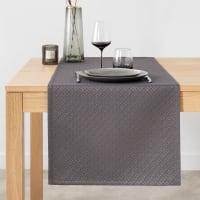 ZILLENGTAL - Chemin de table tissé jacquard gris anthracite et doré 48x150