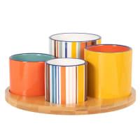 Ciotole da aperitivo in maiolica multicolore (x4) e vassoio in bambù