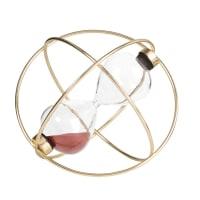 Clessidra viola prugna in vetro su base in metallo dorato