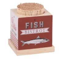 Cocktailprikkers met houder met print Fish Bistrot