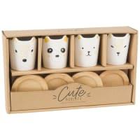 Coffret 4 tasses et soucoupes animaux en porcelaine Little Zoo