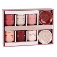 Coffret 6 tasses et soucoupes en porcelaine Mistinguette