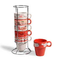 Coffret 6 tasses + support en faïence rouges Brasserie