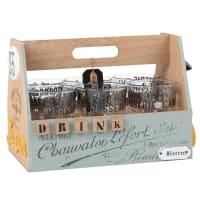 Coffret 6 verres en verre imprimé avec support Leontine