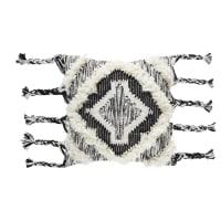 Cojín bereber de algodón y lana tejida con motivos de rombos 45x45 Soweto