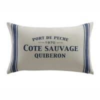 Cojín blanco/azul de algodón 30×50CÔTÉ SAUVAGE Côte Sauvage