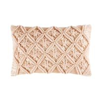 Cojín de algodón macramé rosa 30x50