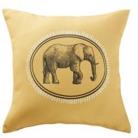 Cojín de exterior amarillo con estampado de elefante negro 45x45 Horton