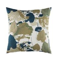 CARYA - Cojín de exterior beige con estampado con motivos vegetales bicolores 45x45