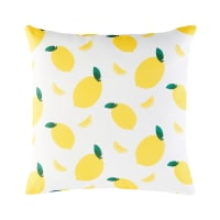 Cojín de exterior blanco con estampado de limones amarillos 45x45 Citrus