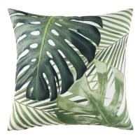MADIDI - Cojín de exterior blanco con estampado de motivos vegetales verdes 45x45