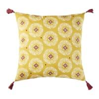 Cojín de exterior de algodón amarillo con motivos gráficos 45x45 Hatha