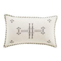 ARAFO - Cojín de lino color crudo y bordados en gris antracita 30 x 50 cm
