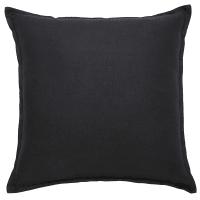 Cojín de lino lavado gris carbón 60x60