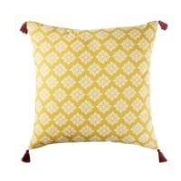 Cojín de suelo para exterior de algodón amarillo con motivos decorativos 80x80 Marga