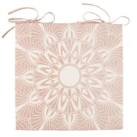 Cojín para silla de algodón rosa con mandala blanco Kriya