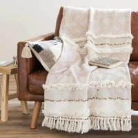 Colcha bereber de algodón beige 160x210 Beaver