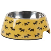 Comedero para perros de metal amarillo con estampado Graphik