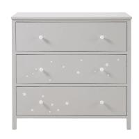 Commode 3 tiroirs grise motifs étoiles blanches  Celeste