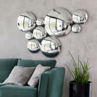 Conjunto de 9 espejos convexos plateados 123x87 Odyssee