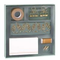 Conjunto de papelaria em azul-esverdeado e dourado