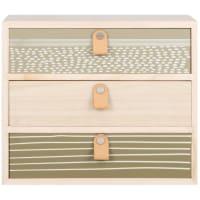 Contenitore con 3 cassetti beige, verde oliva e grigio