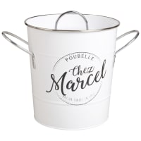 Contenitore per rifiuti da tavola in metallo bianco Chez Marcel