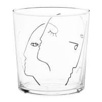 Lote de 6 - Copo em vidro com estampado de rostos em preto