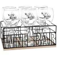 WINE BAR - Copos de vinho (x6) e suporte de metal preto