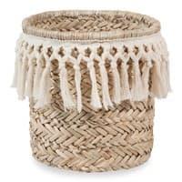 Corbeille en fibre végétale et coton blanc Dentelle