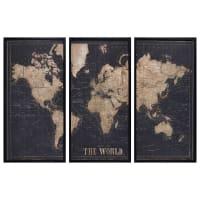 Cornice nera trittico mappa del mondo 180x120 cm Explore