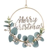 Coroa de Natal com folhagem em verde e dourado e letreiro em purpurina