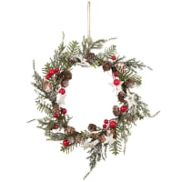 Coroa de Natal com geada 18x18