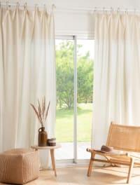 NOVALE - Cortina con lazos de algodón ecológico beige 140 x 270 - la unidad