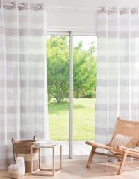 DURBAN - Cortina de ojales con motivos decorativos de rayas blancas y grises por unidad 140x250