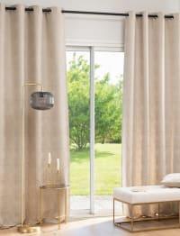 ERSTAD - Cortina de ojales de tejido jacquard con estampado color beige, gris topo y dorado 135x250 cm - una unidad