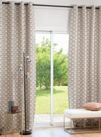 LIBORINE - Cortina de ojales de tejido jacquard con estampado de rombos color beige, negro y dorado 135x270 cm - una unidad