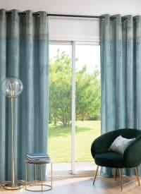 SURBITON - Cortina de ojales de terciopelo con estampado color azul verdoso y dorado 140x250 cm - una unidad