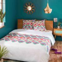 Cotton Bed Linen with Multicoloured Geometric Print 220x220 Pondichery