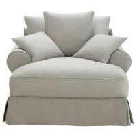 Cotton Chaise Longue in Light Grey Bastide