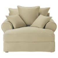 Cotton Chaise Longue in Putty Colour Bastide