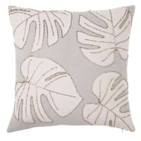 Cotton Cushion Cover with Ecru and Taupe Leaf Embroidery 40x40