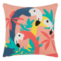 Cotton Cushion Cover with Flamingo Print 40x40